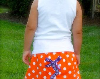 TIGER TAIL applique SKIRT with monogrammed tank top. Also available in short and long sleeves. Purple for Clemson, Navy for Auburn