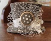 Steampunk Lace and Satin Mini Top Hat - Victorian, Halloween, Costume, Fascinator