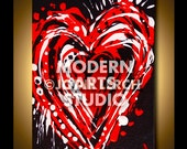 MODERN ART CANVAS Wall Art Original Heart Love Painting Abstract Steampunk Graffiti, Red Black White, Wedding Gift Engagement Present