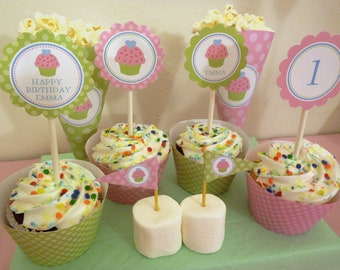 Printable DIY Pink and Green Cupcake Theme Personalized Happy Birthday Cupcake Toppers