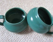 Calm Teal Blue Ceramic Mugs or Soup Bowls, Matching Set of 2, made to order