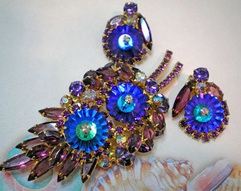 REDUCED 25%  D&E aka Juliana Purple, Blue Margarita Demi Parure    Item No: 15216