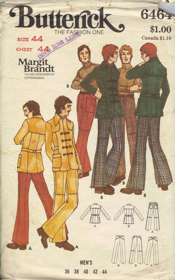 Butterick Men's 70s Retro Sewing Pattern Groovy Style Man Jacket Pants Bell Bottoms Pointed Collar Hipster Fashion Chest 44