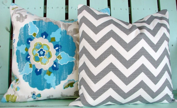 Set of two turquoise, gray,green,blue suzani print, chevron print designer fabric- decorative pillow cover-throw pillow-accent pillow