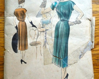 """1950's Vogue Special Design Pleated One Piece Dress  Pattern - Bust 30"""" - No. S-4112"""