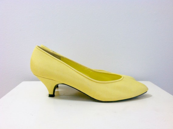 Yellow Kitten Heels