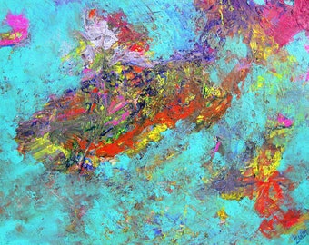 Turquoise, Original Painting on Canvas by Zanetti