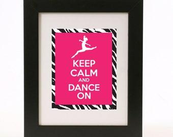 keep calm and dance on wall art 8x10 print