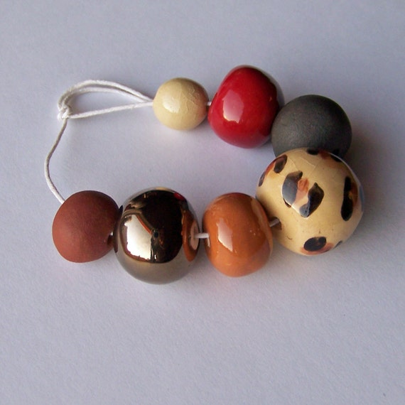 African beads, handmade ceramic bead set