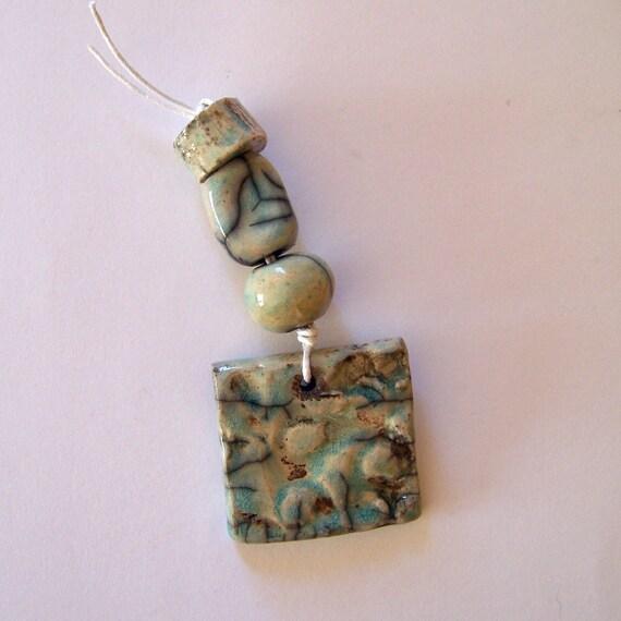 RESERVED for Karen & Leisha - Raku bead set and raku pendant, handmade in South Africa