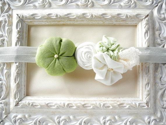 Baby headband fabric flower matching green white girl newborn baby child - handmade - ready to ship