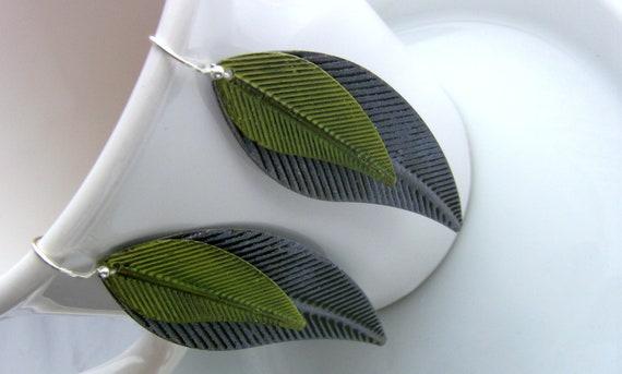 Green Leaf Earrings Purple Metallic Leaves Long Unique Big Earrings Leaf