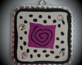 Silver Plated Square Pendant With Polymer Clay And Crystals