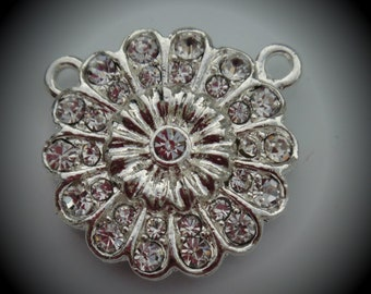 Silver Plated Crystal Clear Extra Strong Magnetic Flower Clasp