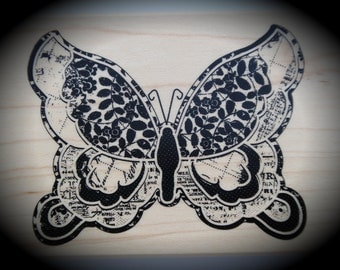 Wood Mounted Rubber Stamp Large Butterfly