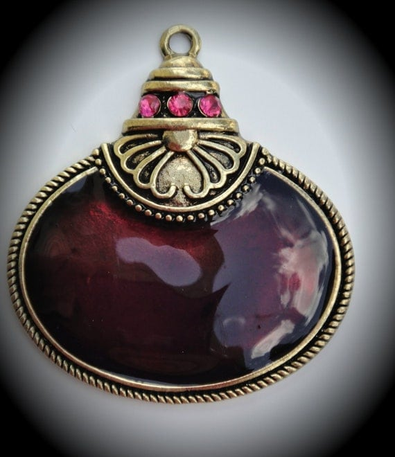 Hot Pink Brass Pendant With Crystals And Enamel