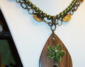 Antique Gold Chain with Green Beads, Teardrop Wood Pendant and Velvet Green Bow Necklace