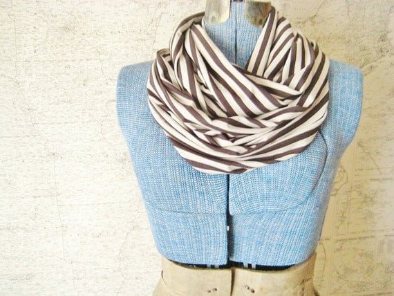 LAST ONE Charcoal & Oatmeal Stripes Infinity Scarf- Striped Circle Scarf- Jersey Knit Loop Scarf- Gray and Cream Accessories by Eliza and Ro