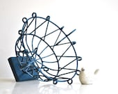 Blue Metal Wire Basket - Ornate Geometric