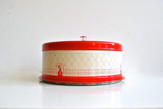 Vintage Cake Safe - Red and White Metal Covered Cake Plate