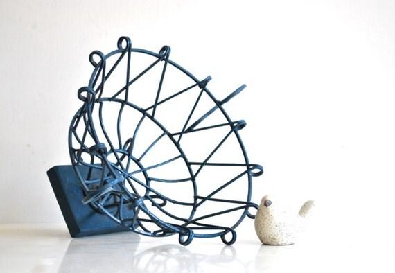 Blue Metal Wire Basket - Ornate Geometric