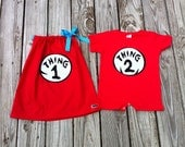 Custom boutique. Applique Dr.Seuss Thing One and Thing Two red girls pillowcase dress and T shirt romper sibling set. By EverythingSorella