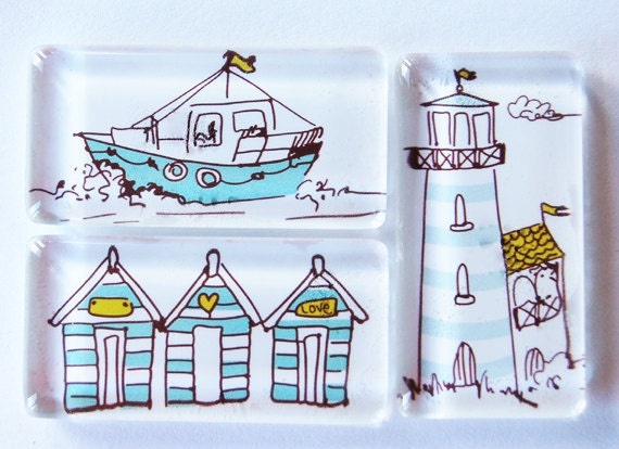 Magnets, Beach, Ocean, Lighthouse, Glass Magnets, Kitchen Magnets, seaside