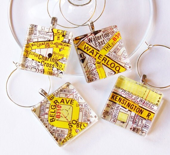 London maps, British wine charms, Wine Glass Charms, Wine Charms, London, England, British, London Calling, travel