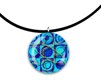 Aqua blues, Round Glass tile pendant, handmade, Big Bang Theory inspired, blue cobalt orange colors