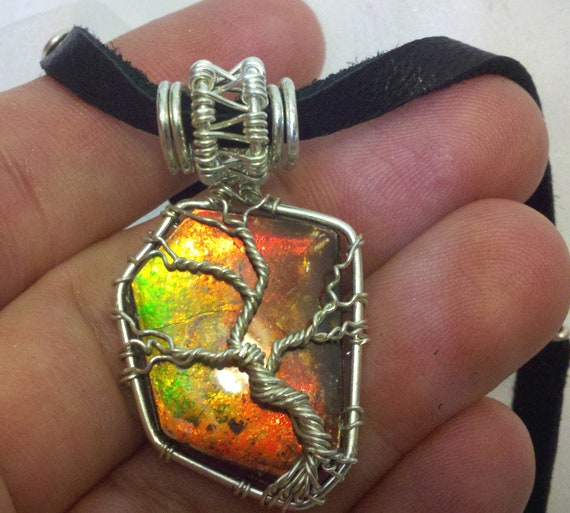 TREE OF LIFE Iridescent Color Changing Ammolite / Ammonite Fossil Stone Pendant & Necklace Wrapped in 925 Sterling Silver Wire