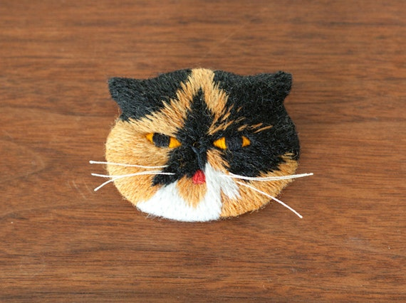 Goma the Cat Embroidery Art Brooch
