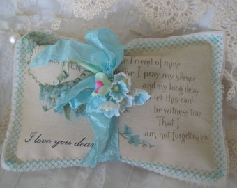 Heartfelt LAVENDER SACHET for Dearest Friend - Embroidered and VINTAGE Blue Forget Me Nots Postcard - Gift