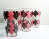 Set of 6 1950s Pink and Black Checkered Drinking Glasses by Federal
