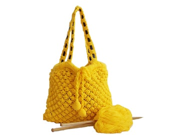 Knitted bag, Handmade shoulder bag, Handmade bag, Yellow bag, Knit bag, Useful handbag, Daily bag, Leather handle