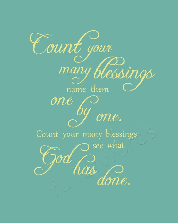 Custom listing for coastiefamily - Count Your Blessings -hymn lyrics - digital printable word art