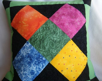 X Marks The Block Quilted Pillow Cover - OOAK