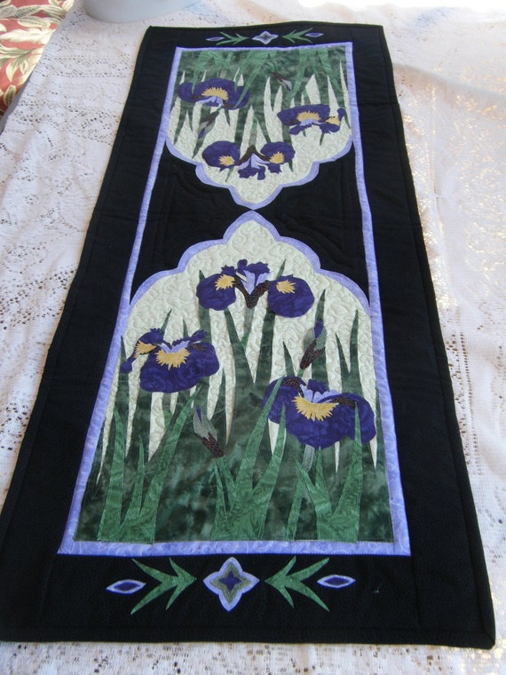 Wild Iris Appliqued Quilted Table Runner - HANDMADE BY ME