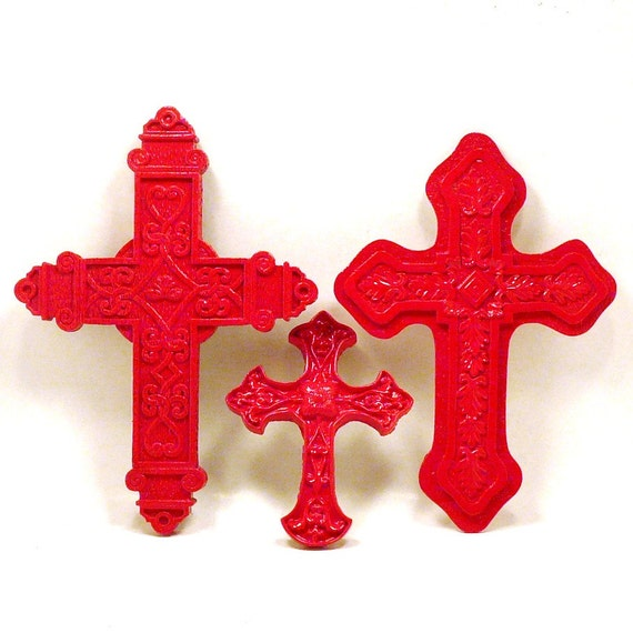 crosses, ornate cross, wall art, red, crucifix, goth, upcycled decor, vintage home accents, traditional, celtic, folk, religious decor