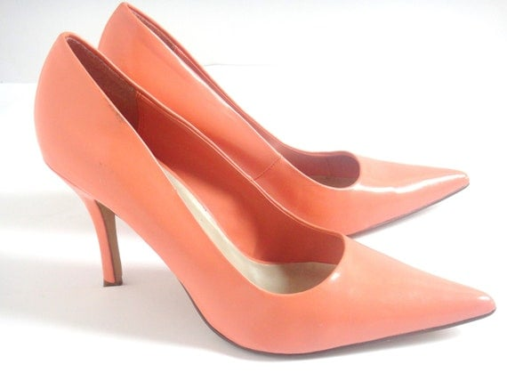 coral high heel shoes size 11 by ninasdream on etsy