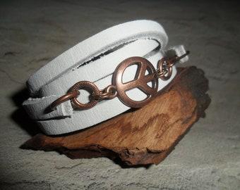 Multi Purpose Peace Sign White Leather Cuff Wrap