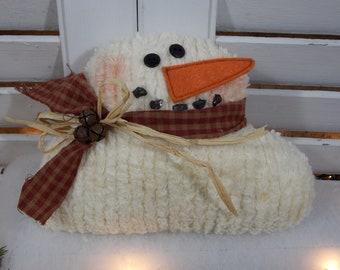 Primitive Chenille Snowman Shelf Sitter Prim Decoration