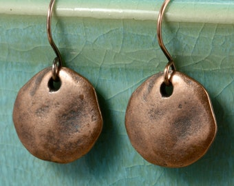 Aged Copper Disc Earrings, Drop Earrings, Copper Earrings, Greek Copper Discs, Rustic Earrings