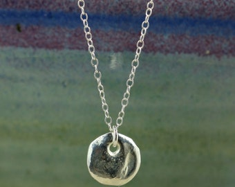 Sterling Silver Chain Necklace with Small Silver Disc, Silver Greek Disc, Sterling Silver Necklace, Silver Disc Necklace