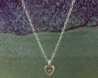 Heart Charm Necklace with Sterling Silver Chain, Hill Tribe Silver Charm, Sterling Silver Necklace, Valentine's Day Gift