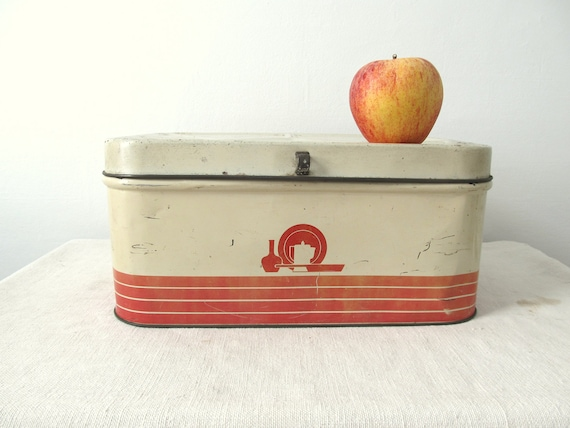 Vintage Bread Box Container Mid Century Graphics