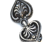 Gunmetal Tone Ornate Heart Pin Back Style Sweater Guard Cardigan Clip