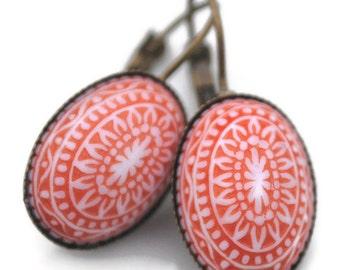 Bohemian Style Tangerine Tango Orange Mosaic Leverback Earring Antique Brass