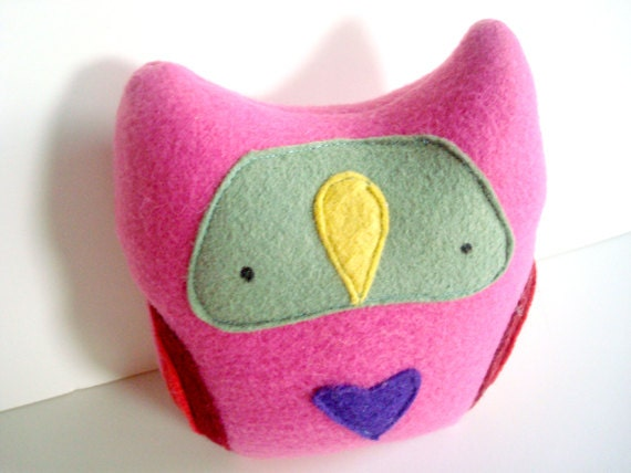 SALE- small OWL LoveBelly deep pink fleece with olive and bright yellow and a purple heart plush art doll by might