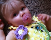 Crocheted Flower Pacifier Clip
