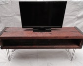 6 ft Industrial media console tv stand from old barnwood with hairpin legs